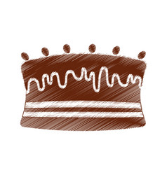Drawing cake chocolate sweet vector