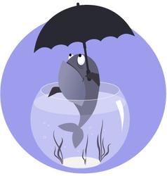 Fish with umbrella vector