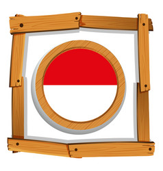 Flag of indonesia on round frame vector