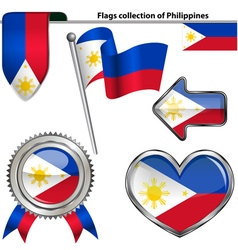Glossy icons with philippines flag vector