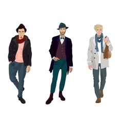 Handsome young guys in fashion and casual clothes vector image vector image