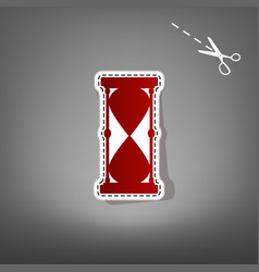 Hourglass sign red icon with vector