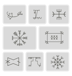 icons with mascots of Scandinavian warriors vector image