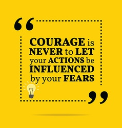 Inspirational motivational quote courage is never vector