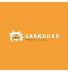 Logo grandfather professor old man white-haired vector