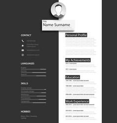 professional black white resume cv template vector image