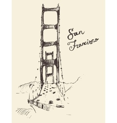 San francisco bridge vintage engraved vector