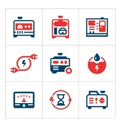 Set color icons of electrical generator vector