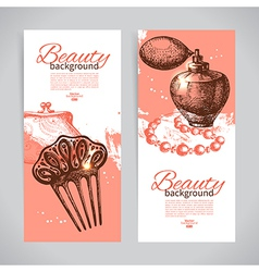 Set of beauty sketch banners vector image vector image