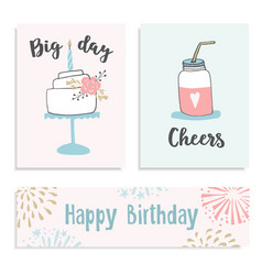 Set of birthday greeting cards invitations with vector