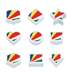 Seychelles flags icons and button set nine styles vector