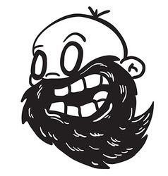simple black and white bearded bald man vector image vector image
