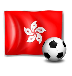 The flag of Hongkong and the soccer ball vector image
