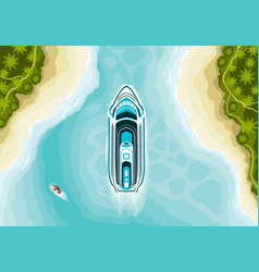 Top view of cruise ship in summer landscape vector