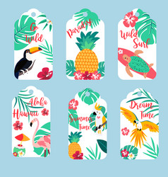 tropical hawaiian tags toucan flamingopineapple vector image