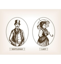 Vintage lady and gentleman sketch style vector image vector image