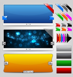 Web sliders and ribbons backgrounds vector