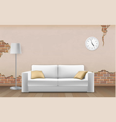 White sofa on old wall background vector