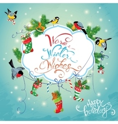 Xmas and new year holiday card with birds holding vector