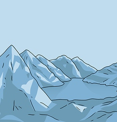 Mountain landscape glacial lake vector