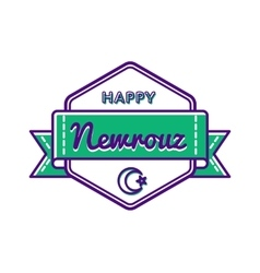 Happy nowruz day greeting emblem vector