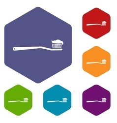 Toothbrush icons set vector