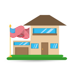 Patriotism house with american flag design vector