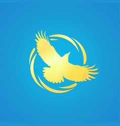 logo of crow in golden color vector image