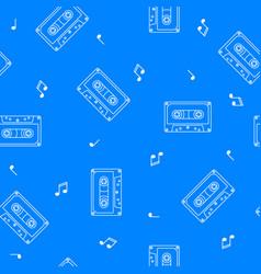 retro cassette seamless pattern music concept vector image