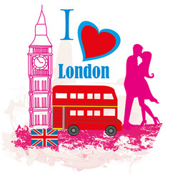 Romantic couple in london card vector