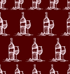 Seamless wine pattern on red background vector