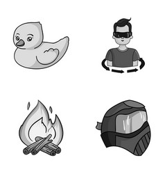 Paintball tourism and other monochrome icon in vector