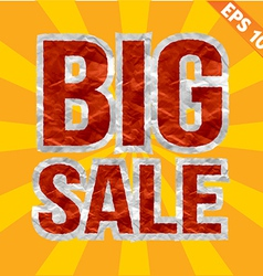 Big sale tag with crumpled paper texture - vector