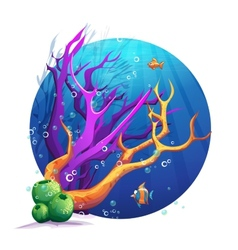 The underwater world with corals and fish fun vector