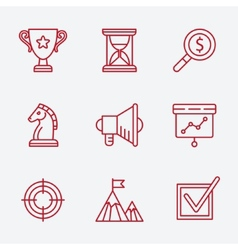 Flat line icons set of small business planning vector