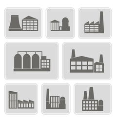 Icons with different industrial buildings vector