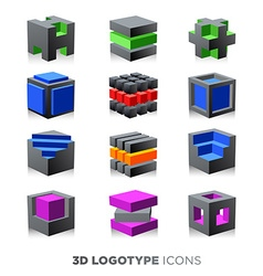 3d abstract cube logotype set vector