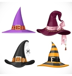 Witch hats with straps and buckles set isolated on vector