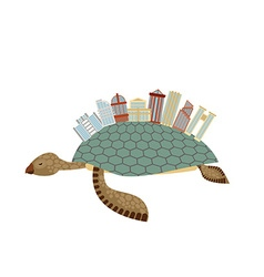 City on turtle building on animal reptiles vector