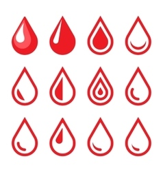 Blood drop emblem logo template icon set vector