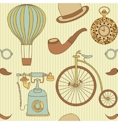 Seamless pattern with different retro objects vector