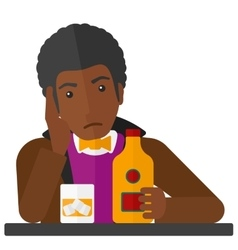 Sad man with bottle and glass vector