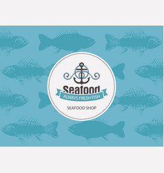 Banner for seafood with anchor rope and seamless vector