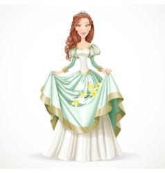Beautiful princess with brown hair vector