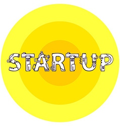 Bright of the word startup in techno style o vector