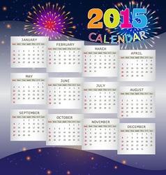 Calendar 2015 on Fireworks Background vector image