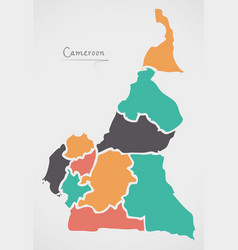 Cameroon map with states and modern round shapes vector