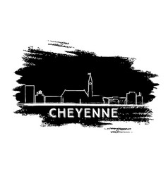 Cheyenne skyline silhouette hand drawn sketch vector