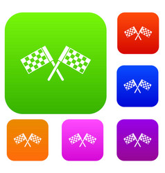 Crossed chequered flags set collection vector