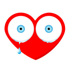 crying sad heart face with eyes and drop vector image vector image